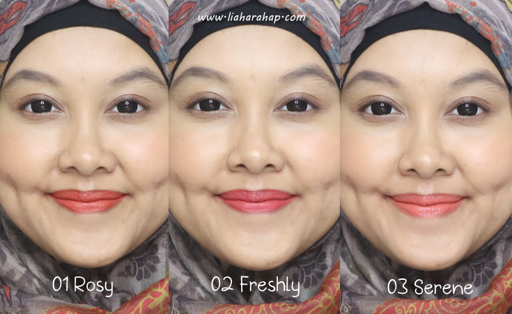 sariayu lip and cheek swatches